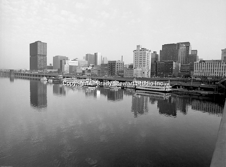 Pittsburgh PA:  View of Pittsburgh and the Gateway Clipper Fleet from the Smithfield Street Bridge.