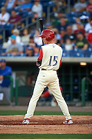 Clearwater Threshers center fielder Carlos Tocci (15) at bat during a game against the Dunedin Blue Jays on April 8, 2016 at Bright House Field in Clearwater, Florida.  Dunedin defeated Clearwater 8-3.  (Mike Janes/Four Seam Images)