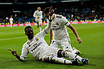 Real Madrid's Vinicius Jr. (L) and Sergio Reguilon (R) celebrate goal during Copa Del Rey match between Real Madrid and CD Leganes at Santiago Bernabeu Stadium in Madrid, Spain. January 09, 2019. (ALTERPHOTOS/A. Perez Meca)