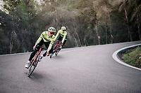 Edward THEUNS (BEL/Trek-Segafredo) & Alex KIRSCH (LUX/Trek-Segafredo) descending<br /> <br /> Team Trek-Segafredo men's team<br /> training camp<br /> Mallorca, january 2019<br /> <br /> ©kramon