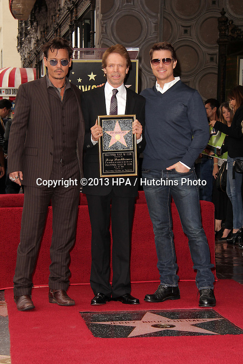 LOS ANGELES - JUN 24:  Johnny Depp, Jerry Bruckheimer, Tom Cruise at  the Jerry Bruckheimer Star on the Hollywood Walk of Fame  at the El Capitan Theater on June 24, 2013 in Los Angeles, CA
