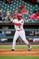 Louisville Bats center fielder Phillip Ervin (6) bats during a game against the Columbus Clippers on May 1, 2017 at Louisville Slugger Field in Louisville, Kentucky.  Columbus defeated Louisville 6-1  (Mike Janes/Four Seam Images)