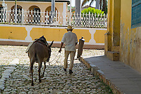 Man walking on Plaza Mayor with a donkey for hire in Trinidad, Cuba.