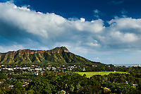 A classic daytime view of Diamond Head and Kapi'olani Park, Honolulu, O'ahu.