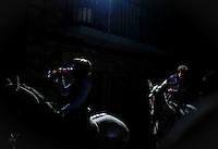 A horseman jumps over a bonfire in the central Spanish village of San Bartolome de Pinares to open the celebrations for the feast of Saint Anthony, patron saint of animals, on January 16, 2012..Todos las noches antes del Día de San Antón, se celebra la fiesta de las Luminarias. Unas veinte hogueras se encienden en las calles del pueblo y casi cien caballos saltan por encima para que el humo les purifique y ahuyente a los malos espíritus. Esta tradición cuenta con más de doscientos años, cuando una epidemia mató a todos los caballos del pueblo..Every night before the Day of St. Anthony, is the Feast of Lights. Some twenty bonfires are lit in the streets of the town and nearly a hundred horses to jump over the smoke to purify them and drive away evil spirits. This tradition has over two hundred years, when an epidemic killed all the horses in town. (c) Pedro ARMESTRE.