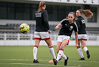 Jill Janssens of OHL (7)  shoots at the goal during the warm up before a female soccer game between Oud Heverlee Leuven and Femina White Star Woluwe  on the 5 th matchday of the 2020 - 2021 season of Belgian Womens Super League , Sunday 18 th of October 2020  in Heverlee , Belgium . PHOTO SPORTPIX.BE | SPP | SEVIL OKTEM