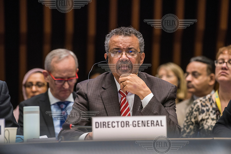 Director-General of the WHO, Dr. Tedros Adhanom Ghebreyesus at the opening session of the Executive Board Meeting of the World Health Organisation, the UN's health body, at the organisation's headquarters in Geneva. The annual event is taking place in the shadow of the Corona virus outbreak, which the WHO has declared as global health emergency.