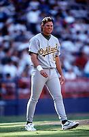 Jason Giambi of the Oakland Athletics at Anaheim Stadium in Anaheim,California during the 1996 season. (Larry Goren/Four Seam Images)