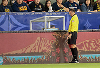 CARSON, CA - SEPTEMBER 21: Kevin Stott views the VAR system during a game between Montreal Impact and Los Angeles Galaxy at Dignity Health Sports Park on September 21, 2019 in Carson, California.