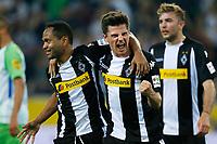 Moenchengladbach, Germany, 1. Football  BL,  match day 31,<br />Borussia Moenchengladbach vs VFL Wolfsburg 3-0am 20 . 04 .2018  Borussia -Park stadium  in Moenchengladbach<br />RAFFAEL (MG)  - 2-0 celebration Jonas HOFMANN (MG) -<br /> <br /> *** Local Caption *** © pixathlon<br /> Contact: +49-40-22 63 02 60 , info@pixathlon.de