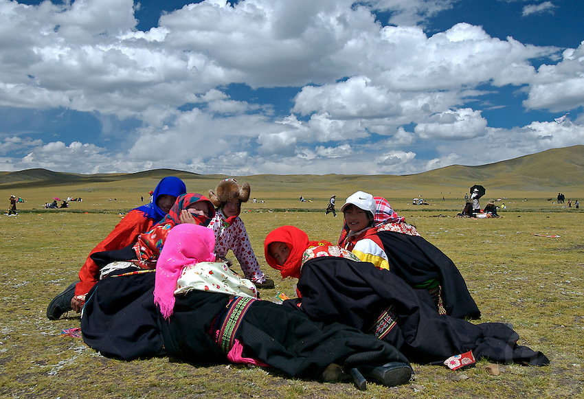 """During the annual Horse racing festival at Naqu these girls have dressed up for the festivities, it is the highest Horse racing festival in the world at 4500 meters, """"the sky is so close"""""""