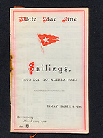 BNPS.co.uk (01202 558833)<br /> Pic: Wikipedia <br /> <br /> PICTURED: Official White Star Line book of sailing found on William Harrison after the Titanic went down . The personal archive of tragic William Harrison who was valet to Bruce Ismay, the managing director of Titanic's owners White Star Line, fetched £44,000.<br /> <br /> A walking cane with a lightbulb on one end of it that a Titanic survivor waved in a desperate attempt to attract a rescue ship has sold for £105,000.Ella White held the wooden stick aloft in the clear night sky as she stood on the deck of the stricken liner to try and signal any passing ships. But her actions blinded crew members while they set about loading passengers into lifeboats.Second officer Charles Lightoller was so annoyed by Mrs White and her cane that he ordered it to be confiscated and thrown overboard.It was the marquee lot in a sale of Titanic artefacts held by auctioneers Henry Aldridge and Son of Devizes, Wilts.