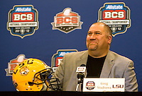 LSU offensive coordinator Greg Studrawa smiles while talking with the reporters during BCS Championship LSU Offensive Press Conference at Marriott Hotel at the Convention Center in New Orleans, Louisiana on January 7th, 2012.