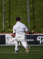 Daryl Mitchell celebrates dismissing Devon Conroy during day three of the Plunket Shield match between the Wellington Firebirds and Canterbury at Basin Reserve in Wellington, New Zealand on Wednesday, 21 October 2020. Photo: Dave Lintott / lintottphoto.co.nz