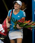 Justine Henin of Belgium, entering the court for her womens singles final against Serena Williams, of the USA, in the final of the Women's Singles Championship of The Australian Open, Melbourne Park, Melbourne, Australia