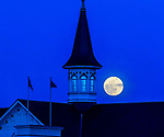 April 26, 2021: The Super Pink Moon rises behind the one of the iconic Twin Spires during Kentucky Derby Week at Churchill Downs in Louisville, Kentucky. John Voorhees/Eclipse Sportswire/CSM