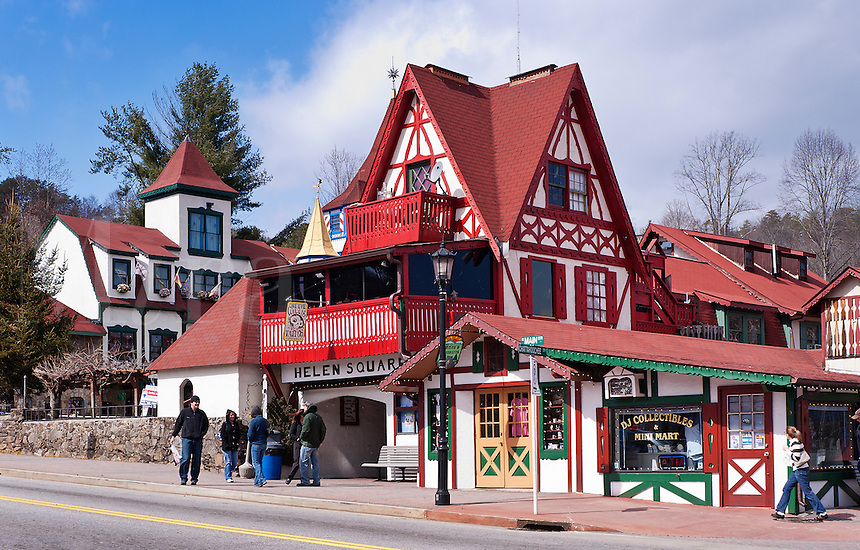 Re-creation of a Bavarian alpine village complete with cobblestone alleys and old-world towers, Helen, Georgia, USA