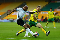 7th November 2020; Carrow Road, Norwich, Norfolk, England, English Football League Championship Football, Norwich versus Swansea City; André Ayew of Swansea City has his cross blocked by Oliver Skipp of Norwich City