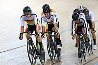 Corbin Strong and Nicholas Kergozou compete in the Men Elite Omnium Points Race 25km during the 2020 Vantage Elite and U19 Track Cycling National Championships at the Avantidrome in Cambridge, New Zealand on Saturday, 25 January 2020. ( Mandatory Photo Credit: Dianne Manson )