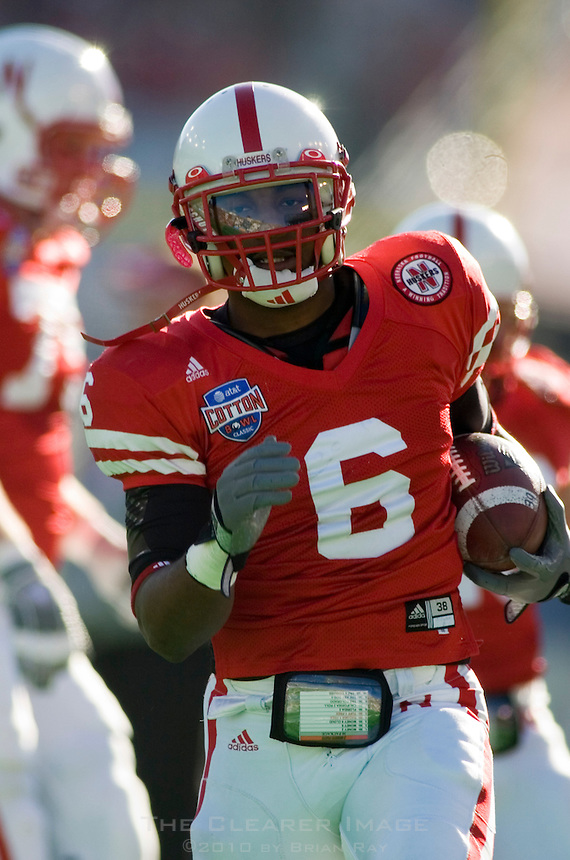 01 January 2007: Nebraska defensive back Major Culbert warms up before the 2007 AT&T Cotton Bowl Classic between The University of Auburn and The University of Nebraska at The Cotton Bowl in Dallas, TX.