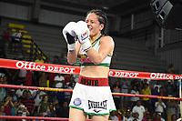 """MONTERIA - COLOMBIA, 19-05-2018: la boxeadora Yazmín """"La rusita """"Rivas de México , se coronó como la nueva campeona mundial AMB al vencer por nocaut técnico en el quinto asalto a la colombiana  Liliana """"La Tigresa"""" Palmera en el coliseo """"Happy Lora """" de esta ciudad   ./boxer Yazmín """"La rusita"""" Rivas from Mexico, was crowned the new WBA world champion when she won by technical knockout in the fifth round to the Colombian Liliana """"La Tigresa"""" Palmera in the """"Happy Lora"""" coliseum of this city. Photo: VizzorImage / Andrés Felipe López Vargas / Contribuidor"""