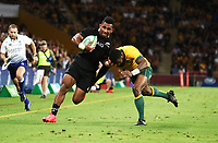 7th November 2020, Brisbane, Australia; Tri Nations International rugby union, Australia versus New Zealand;  Sevu Reece  of The Allblacks in action
