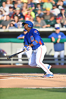 Tennessee Smokies right fielder Jeffrey Baez (33) swings at a pitch during a game against the Biloxi Shuckers at Smokies Stadium on May 26, 2017 in Kodak, Tennessee. The Smokies defeated the Shuckers 3-2. (Tony Farlow/Four Seam Images)