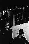 The Shed at Chelsea Football ground. London. Police on duty. 1970.