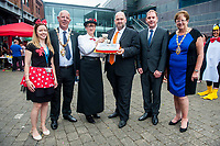 Thursday 21 July 2016<br /> Pictured: Carl Sergeant (4th L) with Mayor David Hopkisn (2nd L) and Rod Stewart (5th L).<br /> Re: A teddy bears picnic takes place at Swansea Waterfront Museum to celebrate 10 years of Flying Start