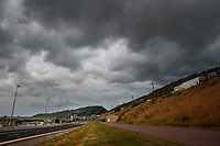 Jul 20, 2019; Morrison, CO, USA; Overall view of Bandimere Speedway during NHRA qualifying for the Mile High Nationals. Mandatory Credit: Mark J. Rebilas-USA TODAY Sports