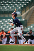 Atlanta Braves Drew Waters (13) at bat during an Instructional League game against the Baltimore Orioles on September 25, 2017 at Ed Smith Stadium in Sarasota, Florida.  (Mike Janes/Four Seam Images)