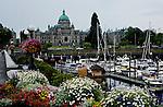 Parliament buildings in British Columbias capital of Victoria view the inner harbor off the Strait of Juan de Fuca.