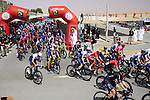 The start of Stage 3 of the 2021 UAE Tour running 166km from Al Ain to Jebel Hafeet, Abu Dhabi, UAE. 23rd February 2021.  <br /> Picture: Eoin Clarke | Cyclefile<br /> <br /> All photos usage must carry mandatory copyright credit (© Cyclefile | Eoin Clarke)