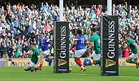 Sunday10th March 2019 | Ireland vs France<br /> <br /> Jonathan Sexton scores during the Guinness 6 Nations clash between Ireland and France at the Aviva Stadium, Lansdowne Road, Dublin, Ireland. Photo by John Dickson / DICKSONDIGITAL