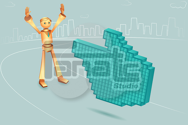 Illustrative image of hand shaped mouse pointer pointing at robotic businessman