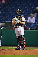 Maryland Terrapins catcher Dan Maynard (11) during a game against the Louisville Cardinals on February 18, 2017 at Spectrum Field in Clearwater, Florida.  Louisville defeated Maryland 10-7.  (Mike Janes/Four Seam Images)