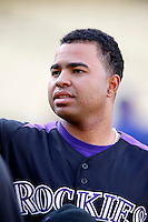 Wilin Rosario #20 of the Colorado Rockies before a game against the Los Angeles Dodgers at Dodger Stadium on September 29, 2012 in Los Angeles, California. Los Angeles defeated Colorado 3-0. (Larry Goren/Four Seam Images)