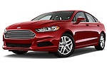 Low aggressive front three quarter view of a 2013 Ford Fusion SE