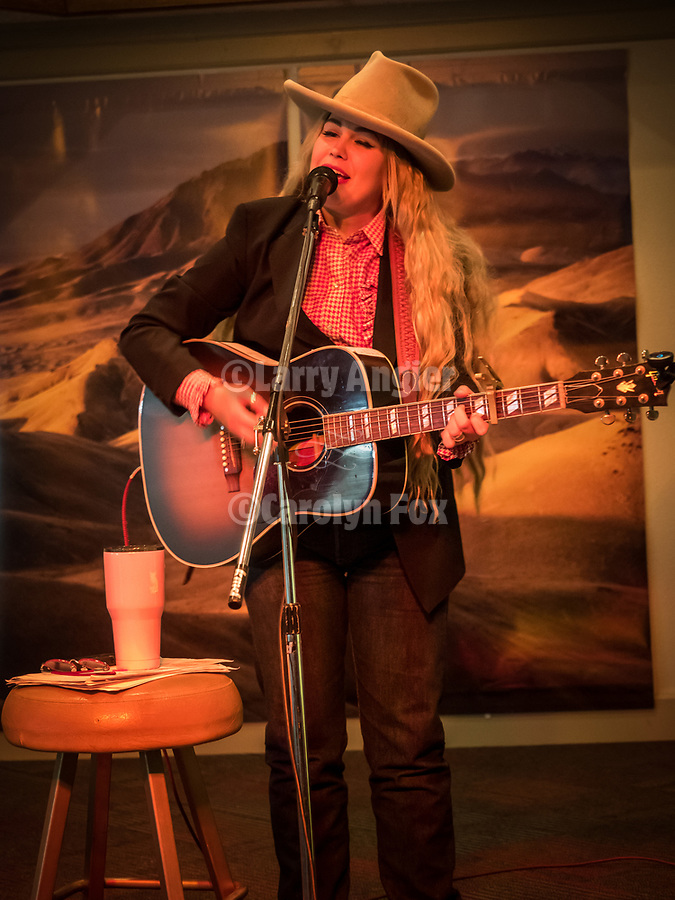 Adrian Brannan The Buckaroo Girl performs after the Friday symposium at STW XXXI, Winnemucca, Nevada, April 12, 2019.<br /> .<br /> .<br /> .<br /> .<br /> @AdrianBuckaroogirl, @shootingthewest, @winnemuccanevada, #ShootingTheWest, @winnemuccaconventioncenter, #WinnemuccaNevada, #STWXXXI, #NevadaPhotographyExperience, #WCVA