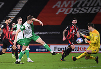 12th January 2021; Vitality Stadium, Bournemouth, Dorset, England; English Football League Championship Football, Bournemouth Athletic versus Millwall; Matt Smith of Millwall shoots and scores in the 79th minute 1-1