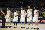 Real Madrid´s Felipe Reyes, Kevin Rivers, Rudy Fernandez, Gustavo Ayon and Sergio Llull during 2014-15 Euroleague Basketball match between Real Madrid and Galatasaray at Palacio de los Deportes stadium in Madrid, Spain. January 08, 2015. (ALTERPHOTOS/Luis Fernandez)