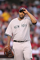 New York Yankees pitcher C C Sabathia #52 pitches against the Los Angeles Angels at Angel Stadium on September 10, 2011 in Anaheim,California. Los Angeles defeated New York 6-0.(Larry Goren/Four Seam Images)