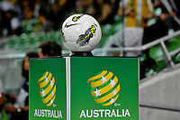 The match ball of the FIFA 2014 World Cup Group D Asian Qualifier match between Australia and Saudi Arabia at AAMI Park in Melbourne, Australia...This image is not for sale on this web site. Please contact Southcreek Global Media for licensing:.Toll Free: 1.800.934.5030.Canada: 701 Rossland Rd. East, Suite 315, Whitby, Ontario, Canada, L1N 9K3.USA: 10792 Baron Dr, Parma OH, USA 44130.Web: http://southcreekglobal.net/ and http://southcreekglobal.com/