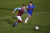 Dan Chesters of West Ham United and Harvey Sayer of Colchester United during Colchester United vs West Ham United Under-21, EFL Trophy Football at the JobServe Community Stadium on 29th September 2020