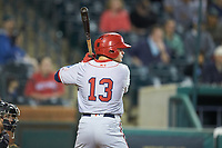 Jacob Rhinesmith (13) of the Hagerstown Suns at bat against the Greensboro Grasshoppers at First National Bank Field on April 6, 2019 in Greensboro, North Carolina. The Suns defeated the Grasshoppers 6-5. (Brian Westerholt/Four Seam Images)