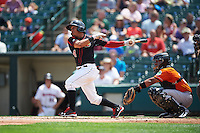 Rochester Red Wings shortstop Wilfredo Tovar (4) at bat in front of catcher Audry Perez (24) during a game against the Norfolk Tides on July 17, 2016 at Frontier Field in Rochester, New York.  Rochester defeated Norfolk 3-2.  (Mike Janes/Four Seam Images)
