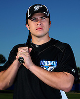 March 1, 2010:  Catcher Travis d'Arnaud (62) of the Toronto Blue Jays poses for a photo during media day at Englebert Complex in Dunedin, FL.  Photo By Mike Janes/Four Seam Images