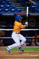 St. Lucie Mets center fielder Desmond Lindsay (2) follows through on a swing during the second game of a doubleheader against the Charlotte Stone Crabs on April 24, 2018 at First Data Field in Port St. Lucie, Florida.  St. Lucie defeated Charlotte 6-5.  (Mike Janes/Four Seam Images)