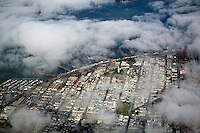 aerial photograph of fog around Coit Tower, Telegraph Hill, San Francisco, California