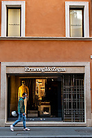 A man walks past Ermenegildo Zegna shop in Rome during Italy's lockdown due to Covid-19 pandemic. <br /> On May 4th will start the phase 2 of the measures against pandemic, adopted by Italian government, that will allow some construction and factory workers to go back to work . <br /> Rome 30/04/2020 <br /> Photo Andrea Staccioli Insidefoto